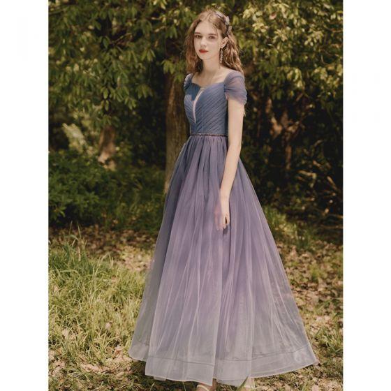 Modest / Simple Gradient-Color Purple Prom Dresses 2021 A-Line / Princess Square Neckline Short Sleeve Backless Floor-Length / Long Formal Dresses