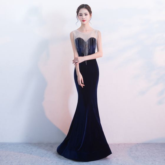 Elegant Navy Blue Evening Dresses  2017 Trumpet / Mermaid Scoop Neck Sleeveless Beading Tassel Floor-Length / Long Backless Pierced Formal Dresses