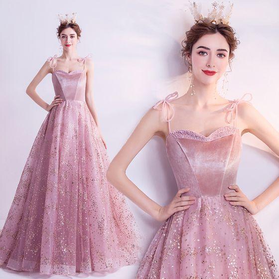 Chic / Belle Rougissant Rose Robe De Bal 2021 Princesse Bretelles Spaghetti Sans Manches Paillettes Perlage Glitter Tulle Train De Balayage Volants Dos Nu Robe De Ceremonie