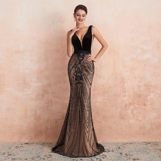 Seksowne Czarne Szampan Sukienki Wieczorowe 2020 Syrena / Rozkloszowane Głęboki V-Szyja Bez Rękawów Szarfa Frezowanie Cekiny Trenem Sweep Wzburzyć Bez Pleców Sukienki Wizytowe