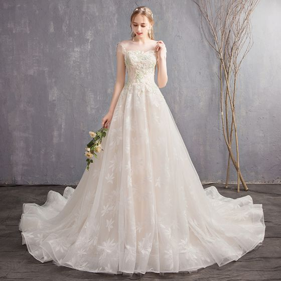 Chic / Beautiful Champagne Wedding Dresses 2018 A-Line / Princess Lace Appliques Beading Scoop Neck Backless Sleeveless Chapel Train Wedding