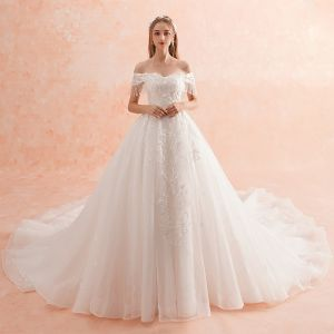 Charming Ivory Wedding Dresses 2019 A-Line / Princess Off-The-Shoulder Beading Tassel Lace Flower Appliques Pearl Short Sleeve Backless Royal Train