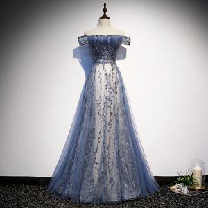 Modern / Fashion Ocean Blue Evening Dresses  2020 A-Line / Princess Off-The-Shoulder Sequins Short Sleeve Backless Floor-Length / Long Formal Dresses