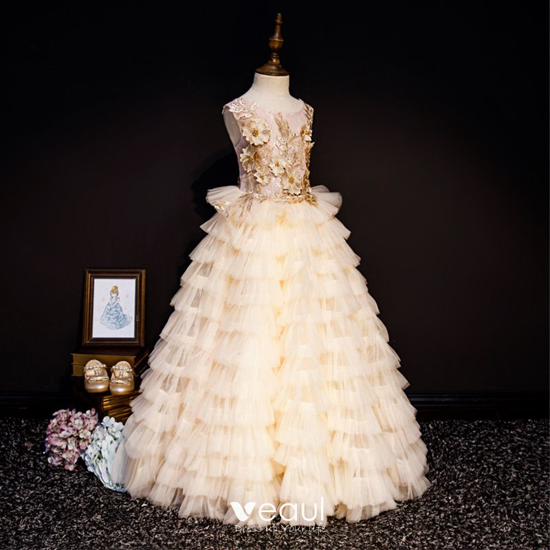 Luxury / Gorgeous Champagne Flower Girl Dresses 2019 A-Line / Princess Scoop Neck Sleeveless Appliques Lace Pearl Rhinestone Floor-Length / Long Cascading Ruffles Backless Wedding Party Dresses