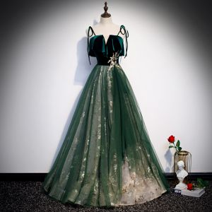 Chic / Beautiful Dark Green Suede Prom Dresses 2020 A-Line / Princess Spaghetti Straps Sleeveless Glitter Tulle Floor-Length / Long Ruffle Backless Formal Dresses