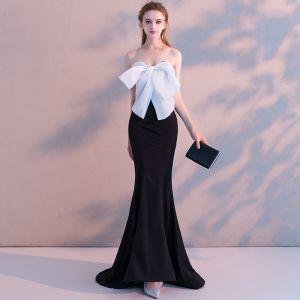 Sexy Noire Robe De Soirée 2018 Trompette / Sirène Noeud Bustier Dos Nu Sans Manches Train De Balayage Robe De Ceremonie