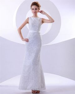 Elegant Floor Length Satin Beading Lace Sheath Wedding Dress