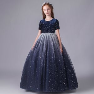 Starry Sky Navy Blue Birthday Flower Girl Dresses 2020 Ball Gown Scoop Neck Short Sleeve Star Sequins Floor-Length / Long Ruffle