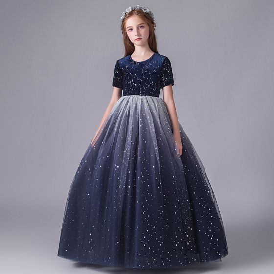 Starry Sky Navy Blue Birthday Flower Girl Dresses 2020 Ball Gown Scoop Neck Short Sleeve Star Sequins Floor-Length / Long Ruffle