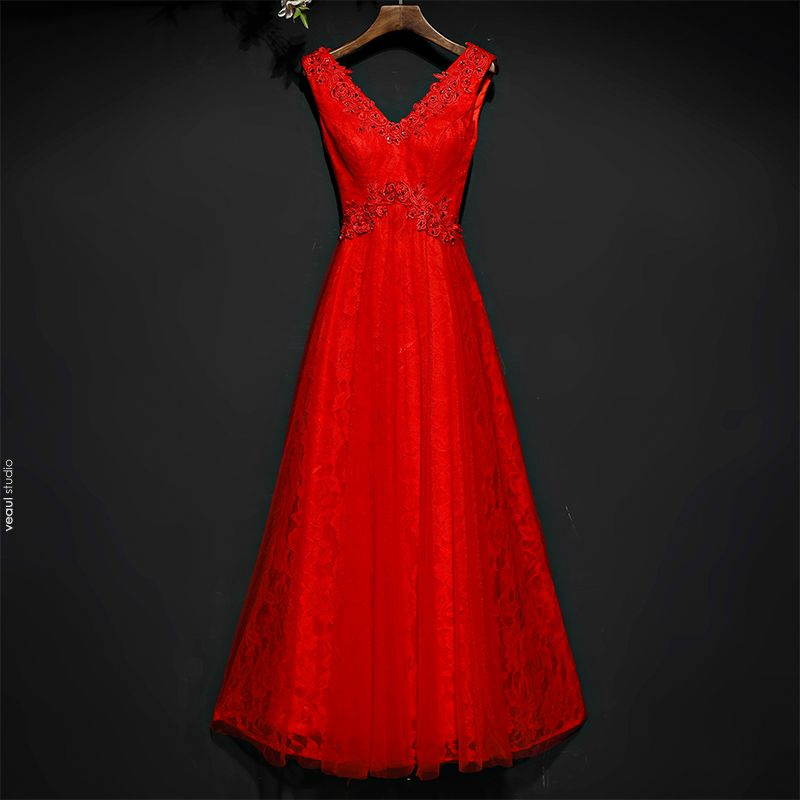 Chic / Beautiful Red Formal Dresses Evening Dresses  2017 Lace Flower Sequins Ankle Length Sleeveless V-Neck A-Line / Princess