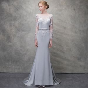 Chic / Beautiful Silver Evening Dresses  2018 Trumpet / Mermaid Lace Flower Scoop Neck Backless Long Sleeve Sweep Train Formal Dresses