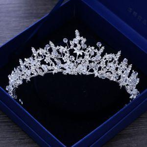Glitzernden Silber Metall Brautaccessoires 2018 Kristall Strass Diadem