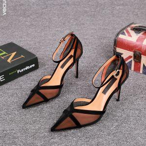 Sjarmerende Svart Fest Gjennomsiktig Sandaler Dame 2021 Lær Ankelstropp 9 cm Stiletthæler Spisse Sandaler