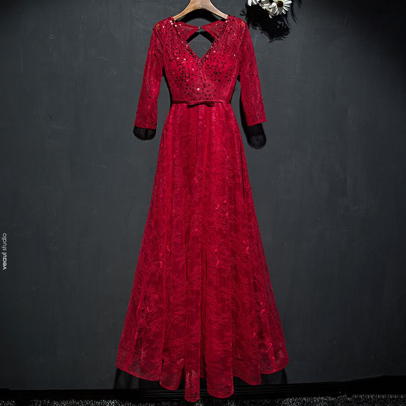 Chic / Beautiful Red Formal Dresses Evening Dresses  2017 Lace Sequins Bow Backless Ankle Length V-Neck 3/4 Sleeve A-Line / Princess