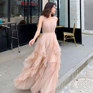 Affordable Khaki Evening Dresses  2019 A-Line / Princess Spaghetti Straps Sleeveless Sash Floor-Length / Long Cascading Ruffles Backless Formal Dresses