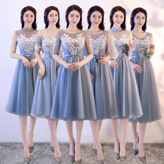 Affordable Sky Blue See-through Bridesmaid Dresses 2018 A-Line / Princess Appliques Lace Bow Sash Tea-length Ruffle Backless Wedding Party Dresses