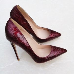 Fine Burgunder Aften Pumps 2020 12 cm Stiletthæler Spisse Pumps
