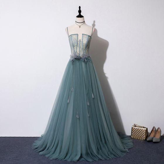 Elegant Green Evening Dresses  2019 A-Line / Princess Spaghetti Straps Sleeveless Tassel Beading Sweep Train Ruffle Backless Formal Dresses