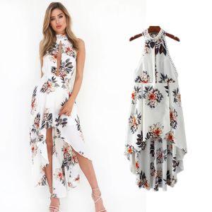 High Low Summer Beach White Chiffon Maxi Dresses 2018 Halter Sleeveless Printing Flower Asymmetrical Backless Women's Clothing