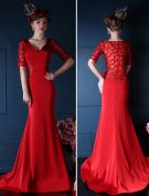 2015 Mermaid V-neck Shoulders 1/2 Sleeves Exquisite Back Part Cheap Long Evening Dress Red