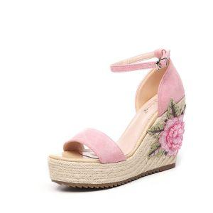 Chic / Belle Jardin / Extérieur Sandales Femme 2017 PU Tresser Brodé Peep Toes / Bout Ouvert Compensées Sandales