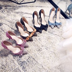 Sparkly Gradient-Color Womens Shoes 2018 Leather Sequins Bow 8 cm Stiletto Heels Pointed Toe High Heels