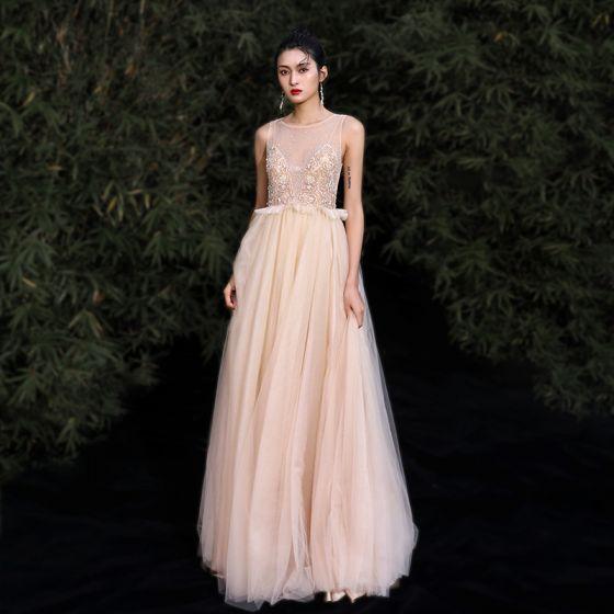 Eleganckie Złote Sukienki Wieczorowe 2020 Princessa Wycięciem Frezowanie Rhinestone Bez Rękawów Długie Sukienki Wizytowe