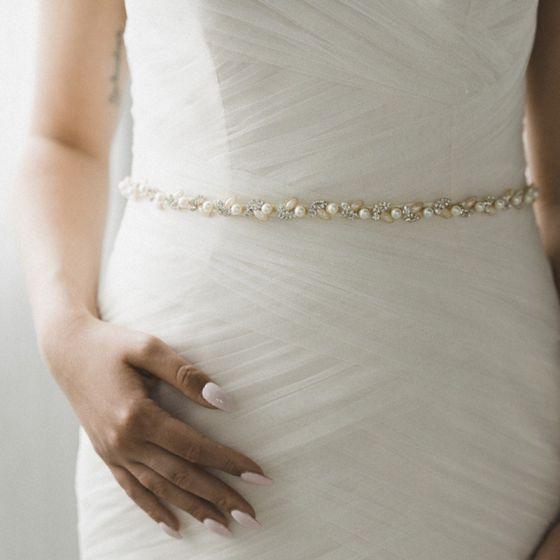 Mote Elfenben Bånd Bryllup 2020 Satin Metall Beading Krystall Perle Rhinestone Ball Aften Tilbehør