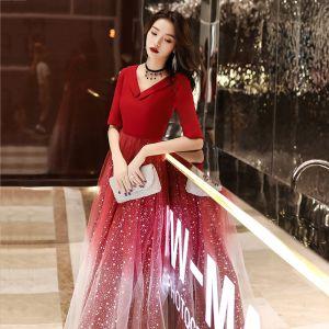 Erschwinglich Rot Abendkleider 2020 A Linie V-Ausschnitt 1/2 Ärmel Applikationen Star Pailletten Lange Rüschen Rückenfreies Festliche Kleider