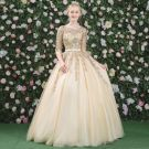Elegant Prom Dresses 2017 Lace Appliques Crystal Rhinestone Pearl Backless Scoop Neck 3/4 Sleeve Floor-Length / Long Gold Ball Gown