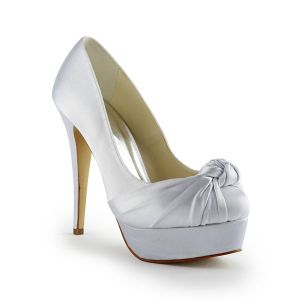 Chic Satin Bridal Shoes High Heels Pumps Stiletto Heel With Platform