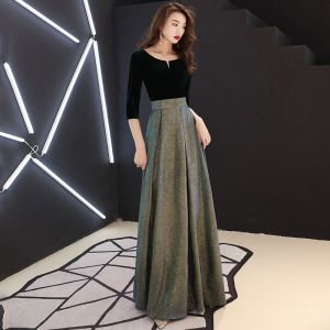 Elegant Black Evening Dresses  2019 A-Line / Princess Suede Scoop Neck Glitter Polyester 3/4 Sleeve Floor-Length / Long Formal Dresses