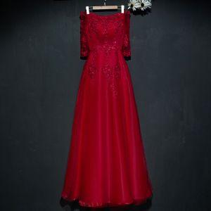 Piękne Czerwone Sukienki Wizytowe Sukienki Wieczorowe 2017 Z Koronki Kwiat Cekiny Przy Ramieniu 1/2 Rękawy Długość Kostki Princessa
