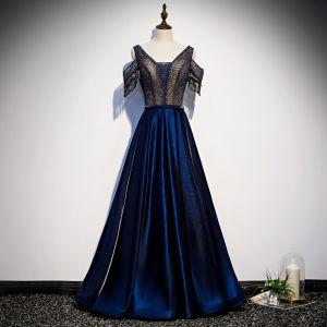 Beste Königliches Blau Satin Abendkleider 2020 A Linie V-Ausschnitt Kurze Ärmel Perlenstickerei Quaste Lange Rüschen Rückenfreies Festliche Kleider