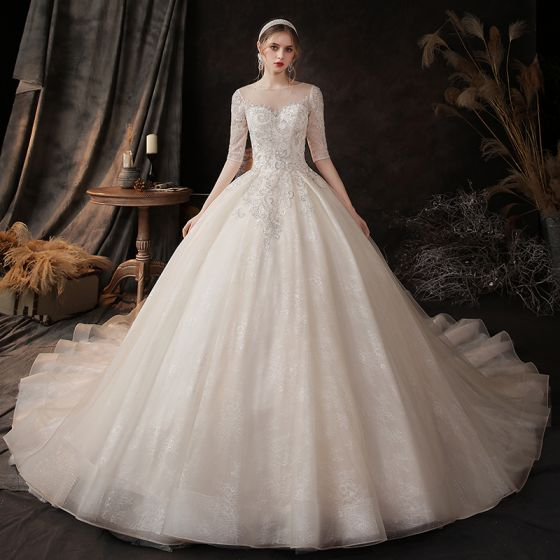 Chic / Beautiful Champagne See-through Bridal Wedding Dresses 2020 Ball Gown Scoop Neck 1/2 Sleeves Backless Appliques Sequins Beading Chapel Train Ruffle