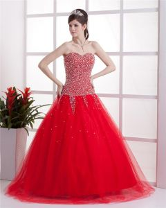 Tulle Beading Sweetheart Brush Train Prom Dresses