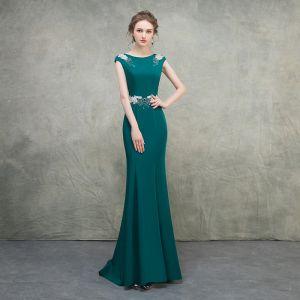 Schlicht Grün Abendkleider 2018 Mermaid Rundhalsausschnitt Ärmel Pailletten Perlenstickerei Sweep / Pinsel Zug Festliche Kleider