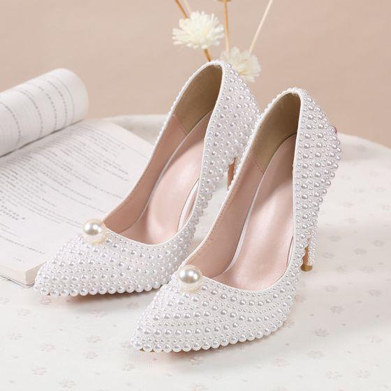 Charming Ivory Handmade  Pearl Wedding Shoes 2020 11 cm Stiletto Heels Pointed Toe Wedding Pumps