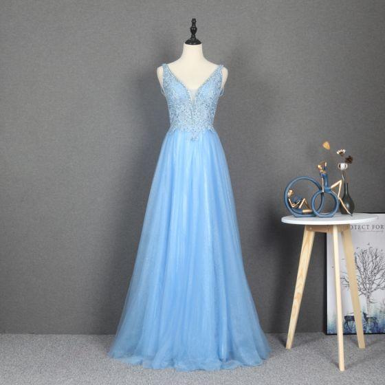 Elegant Sky Blue Dancing Prom Dresses 2020 A-Line / Princess Deep V-Neck Sleeveless Appliques Lace Beading Rhinestone Glitter Tulle Floor-Length / Long Ruffle Backless Formal Dresses