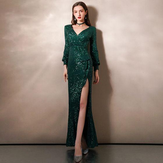 Sparkly Dark Green Sequins Evening Dresses  2020 Trumpet / Mermaid Deep V-Neck Puffy Long Sleeve Floor-Length / Long Ruffle Formal Dresses
