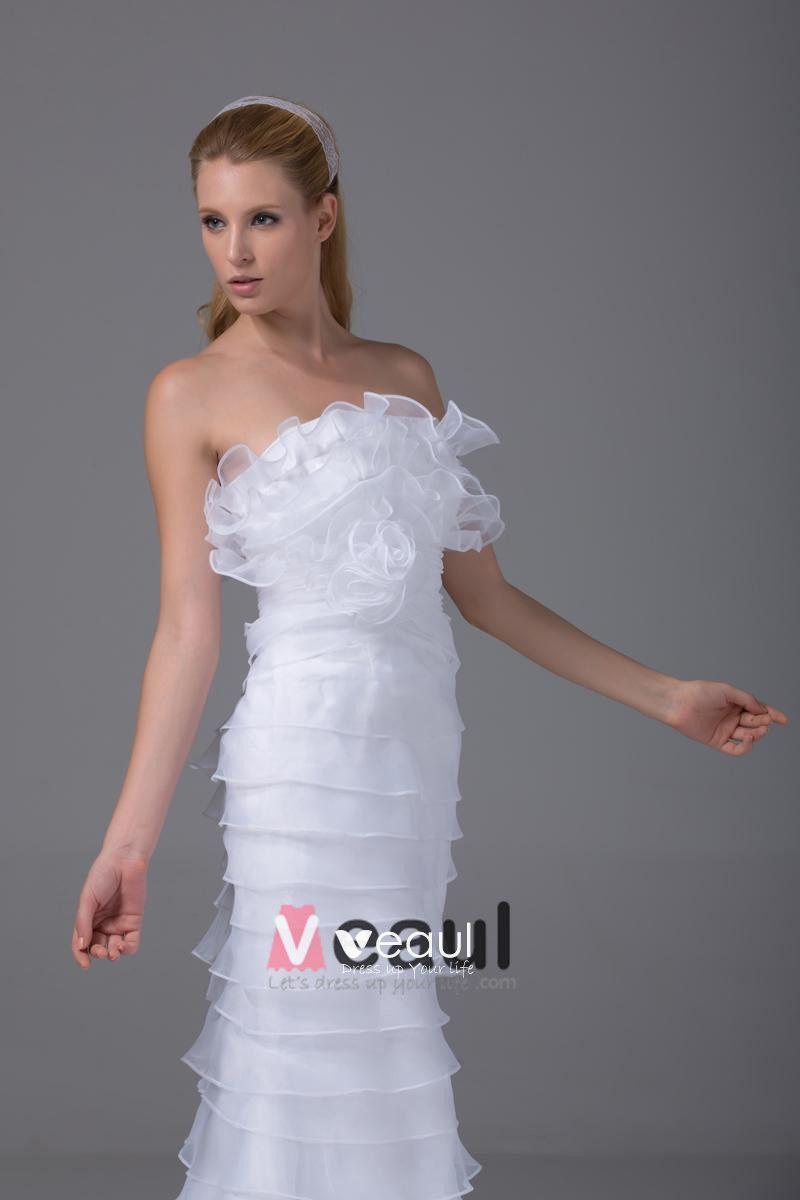 Charming Style Strapless Floor Length Ruffles Organza Women Sheath Wedding Dress