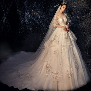 Elegant Ivory See-through Wedding Dresses 2019 A-Line / Princess Scoop Neck Puffy 3/4 Sleeve Backless Appliques Lace Sequins Chapel Train Ruffle
