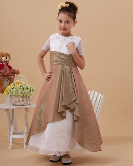 Taffeta Organza Short Sleeve Floor Length Flower Girl Dresses