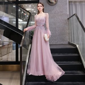 High-end Candy Pink See-through Evening Dresses  2020 A-Line / Princess Square Neckline Long Sleeve Feather Handmade  Beading Rhinestone Sequins Sash Sweep Train Ruffle Formal Dresses