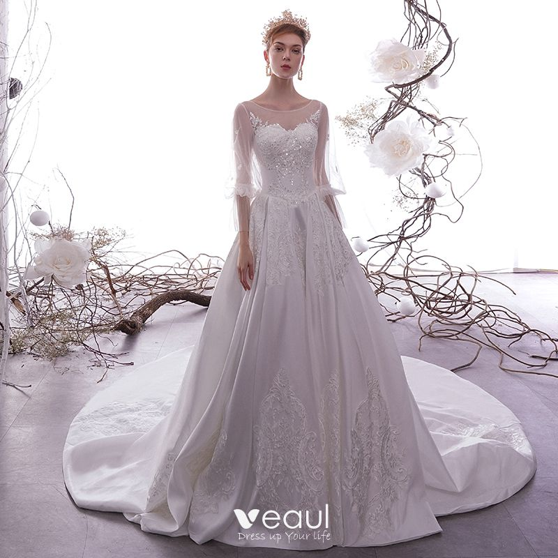 Long Sleeves Best Wedding Gowns with Ruffles