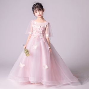 60d8531e0ce Elegant Blushing Pink See-through Flower Girl Dresses 2019 A-Line   Princess  Scoop