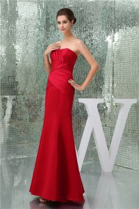 2015 Charming Sheath Strapless Pleated Mermaid Bridesmaid Dresses