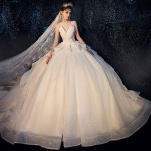 Bling Bling Ivory Wedding Dresses 2019 Ball Gown Amazing / Unique Sweetheart Sleeveless Backless Glitter Tulle Royal Train Ruffle
