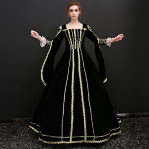 Vintage / Originale Noire Longue Robe De Bal 2018 Lacer 3/4 Manches U-Cou Impression Promo Robe Boule Robe De Soirée