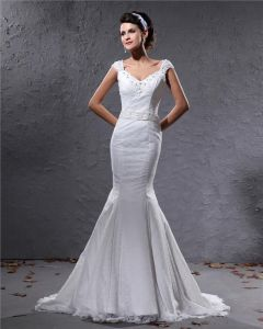 Elegant Lace Satin Beaded V Neck Floor Length Mermaid Wedding Dress